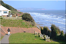 SX9777 : Footpath from Exeter Road to a footbridge over the railway, north end of Dawlish by Robin Stott
