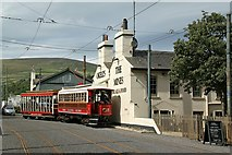 SC4384 : Manx Electric Railway tram passing The Mines at Laxey by Alan Murray-Rust