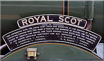 NT5234 : The name plate of the steam engine Royal Scot by Walter Baxter