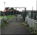ST2984 : School entrance gate, Duffryn, Newport by Jaggery
