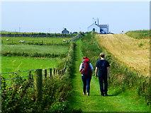 D0444 : Walkers along the coastal path, Ballintoy by Kenneth  Allen