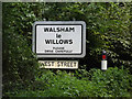 TL9870 : Walsham Le Willows Village Name sign on Ixworth Road by Adrian Cable