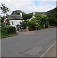 SO5014 : Warning sign - staggered crossroads, Monmouth by Jaggery