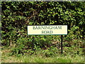 TL9775 : Barningham Road sign by Adrian Cable