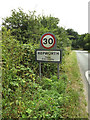 TL9775 : Hepworth Village Name sign on Barningham Road by Adrian Cable