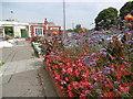 TQ1568 : Floral display at Hampton Court station by Marathon