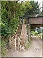 ST0616 : Steps from canal towpath to old railway bridge (Black Bridge) by David Smith