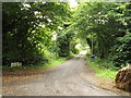TM3072 : Footpath to the B1117 & entrance to Grove Farm by Geographer