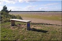 NT6378 : Bench overlooking the Tyne estuary by Richard Webb
