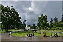 NJ1736 : Ballindalloch Castle: Car park and dovecote by Michael Garlick
