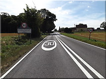 TL9568 : Entering Stowlangtoft on the A1088 Stow Lane by Geographer