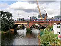 SJ8297 : River Irwell, Victorian Railway Bridge by David Dixon