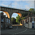 NZ2642 : Durham: morning sunlight on the railway viaduct by John Sutton