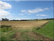 NU2314 : Harvested arable field at Ratcheugh Farm by Graham Robson