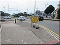 ST1167 : Yellow temporary directions sign facing Gladstone Road, Barry by Jaggery