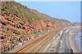 SX9777 : Contractors erecting fencing by the railway north of Dawlish, to catch falling rocks by Robin Stott
