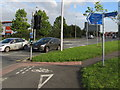 SJ7154 : Cycle route 451 signpost on a Crewe corner by Jaggery