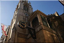 TQ3181 : View of a clock on St Dunstan in the West church from Fleet Street by Robert Lamb