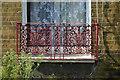 TQ3276 : Cast iron windowbox guard, terraced houses, Warner Road, Camberwell, London by Robin Stott
