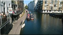 TQ3283 : Regent's Canal at Wharf Road Bridge, looking east by Christopher Hilton