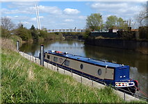 SK7954 : Narrowboat moored along the River Trent by Mat Fascione