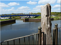 SK7954 : Footbridge across the entrance to King's Marina by Mat Fascione