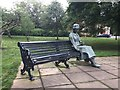 SJ8546 : Newcastle-under-Lyme: Vera Brittain bench sculpture in Brampton Park by Jonathan Hutchins
