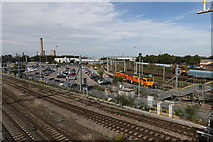 SU5290 : Long stay car park and railway yard by Andrew Abbott
