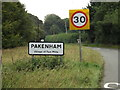 TL9267 : Pakenham Village Name sign on Pakenham Road by Geographer