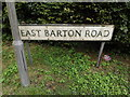 TL8966 : East Barton Road sign by Adrian Cable