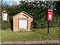 SJ5756 : Village notice  board, 1st. World War memorial and post box, Haughton village by Norman Caesar