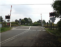 TM1585 : Grove Road Level Crossing, Gissing by Adrian Cable