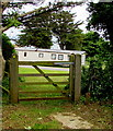 SS0998 : Wooden gate at the northern edge of  a holiday park, Lydstep Bay by Jaggery
