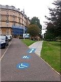 SZ0891 : Bournemouth: footpath B05 leaves the Town Hall frontage car park by Chris Downer