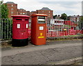 SJ3350 : Twin pillarbox and a franked mail postbox, Station Approach, Wrexham by Jaggery