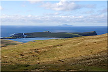 HU3919 : View to St Ninian's Isle and Foula from Ward of Scousburgh by Mike Pennington