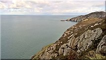 SH2082 : Looking north from cliffs above South Stack by Chris Morgan