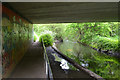 SP3677 : River Sowe and the Sowe Valley path duck under Allard Way, Stoke Aldermoor, Coventry by Robin Stott