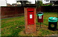 SJ6550 : Queen Elizabeth II postbox and two bins, Audlem Road, Nantwich by Jaggery