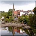 SJ2142 : Rocky river bed at Llangollen, Denbighshire by Roger  Kidd