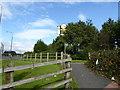 SJ7696 : Footpath off B5214 near Trafford Centre by Jonathan Hutchins