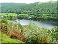 SN6979 : The Cwm Rheidol reservoir from the train by Derek Voller