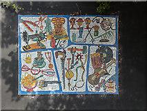 TQ3283 : Mosaic near City Road Lock,  Regents Canal, Islington, London by Christine Matthews