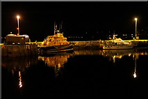 HU4741 : Lerwick lifeboat tied up in the Small Boat Harbour at night by Mike Pennington