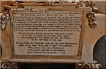 SK9136 : Grantham, St. Wulfram's Church: The William Cust memorial inscription by Michael Garlick