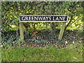 TM1093 : Greenways Lane sign by Adrian Cable