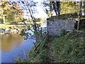 NY2424 : Old railway bridge abutment at How Farm by Oliver Dixon
