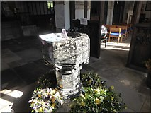NY6820 : Font in St Lawrence's church, Appleby by David Smith