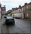 ST1368 : Warning sign - Humps/Twmpathau, Main Street, Cadoxton, Barry by Jaggery