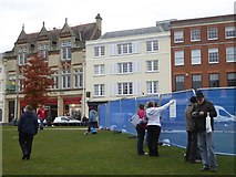 SX9292 : Cathedral Green, Exeter, with security screens during demolition work by David Smith